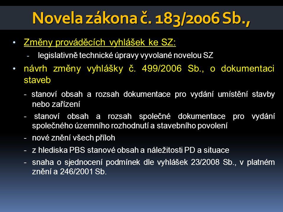Novela zákona č.183/2006 Sb., • Změny prováděcích vyhlášek ke SZ: • návrh změny vyhlášky č.