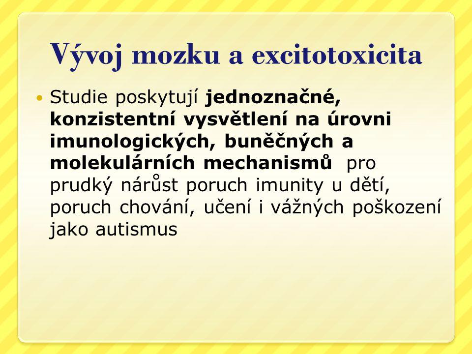 Vývoj mozku a excitotoxicita  Ostrý pláč po očkování – encefalitický křik – známka zánětu a otoku mozku  V příbalovém letáku Infanrixu uváděn mezi častými (1:10) reakcemi!.