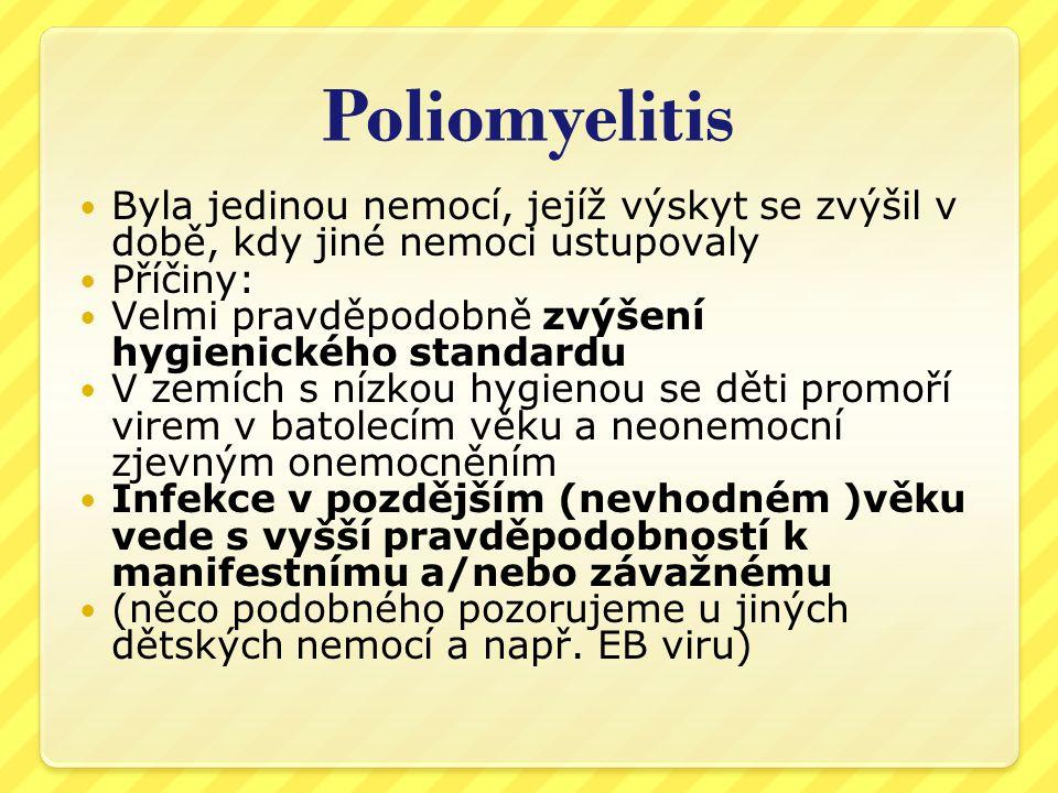 Poliomyelitis  Další příčiny  Odklon od kojení (v době maximálního výskytu polio při odchodu z porodnice kojilo v USA pouze 5% matek)-primární narušení střevní mikroflóry a imunity  Kontaminace kravského mléka a umělé výživy DDT  Strava s vysokým glykemickým indexem v době epidemií (léto: zmrzliny, sladkosti, limonády)  Někteří lékaři dokázali snížit výskyt nemoci u své klientely na zlomek procent výskytu v okolí pouze převedením dětí na stravu s nízkým GI
