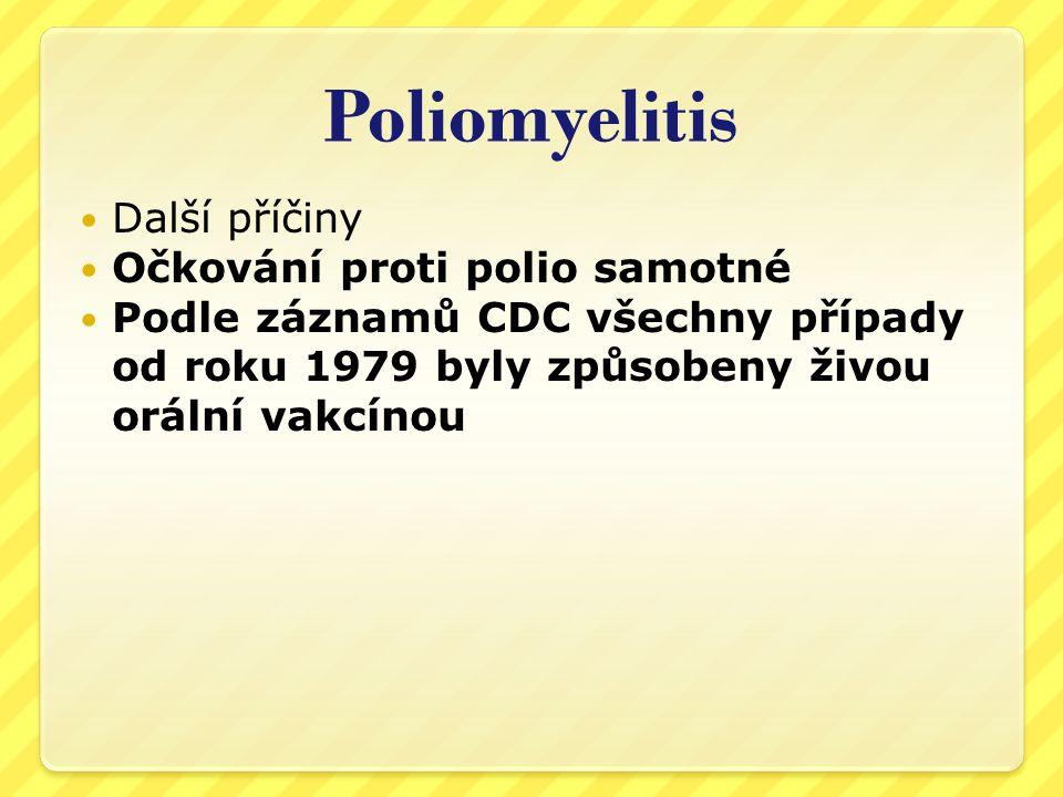 Nár ů st polio po zavedení o č kování – statistika vlády USA