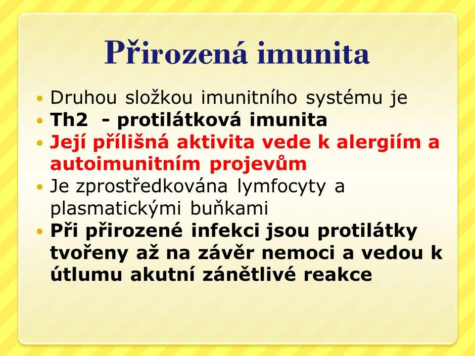 P ř irozená imunita  Je obvykle celoživotní  Přenáší se z matky na plod a kojené dítě a tak přirozeně chrání děti v nejzranitelnějším období života  Přirozené infekce jsou jedinou přirozenou stimulací imunitního systému  Přiměřený kontakt s infekcemi udržuje dostatečně aktivní Th1 složku a tak i protiinfekční imunitu  STÁDNÍ IMUNITA JE VE SKUTEČNOSTI ZAJIŠŤOVÁNA PŘÍTOMNOSTÍ INFEKCE V POPULACI