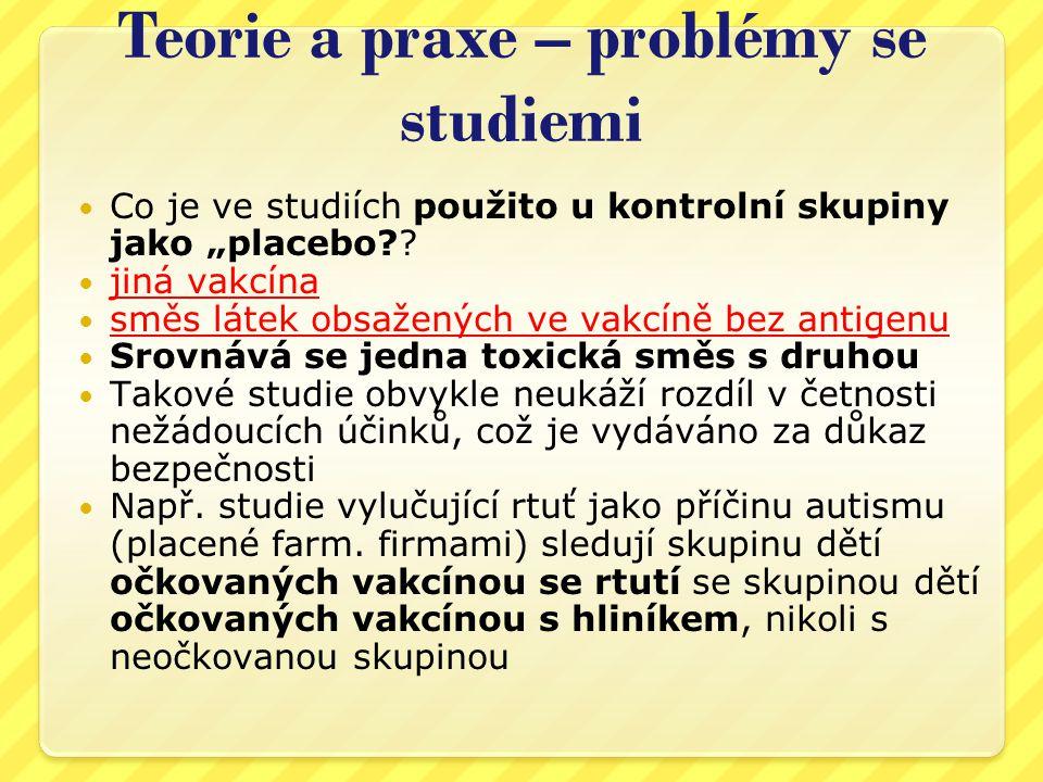Teorie a praxe – problémy se studiemi  Neexistují skutečné kontrolní skupiny, tj.