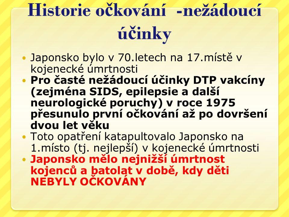 Neurotoxicita vakcín Japonsko Věk zahájení očkování DTP Počet reakcí/úmrtí Roky 1970-19743 měsíce57/37 Roky 1975-19802 roky 8/3