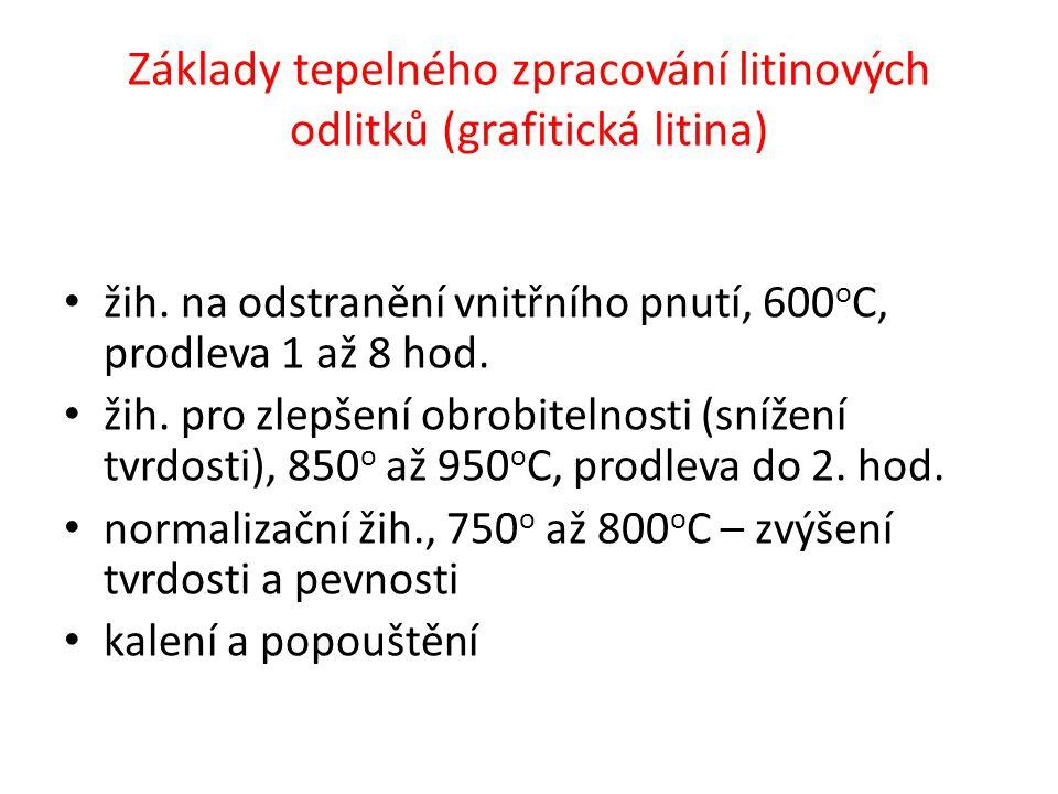 • žih. na odstranění vnitřního pnutí, 600 o C, prodleva 1 až 8 hod. • žih. pro zlepšení obrobitelnosti (snížení tvrdosti), 850 o až 950 o C, prodleva