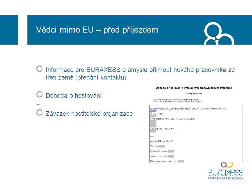 Vědci mimo EU – před příjezdem Informace pro EURAXESS o úmyslu přijmout nového pracovníka ze třetí země (předání kontaktu) Dohoda o hostování + Závazek hostitelské organizace