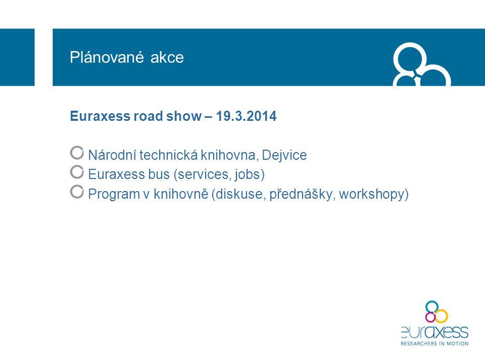 Plánované akce Euraxess road show – 19.3.2014 Národní technická knihovna, Dejvice Euraxess bus (services, jobs) Program v knihovně (diskuse, přednášky, workshopy)