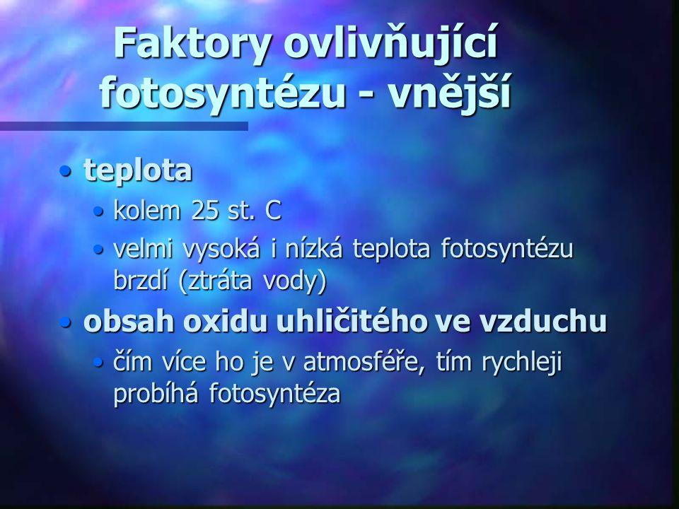 Faktory ovlivňující fotosyntézu - vnější •teplota •kolem 25 st. C •velmi vysoká i nízká teplota fotosyntézu brzdí (ztráta vody) •obsah oxidu uhličitéh