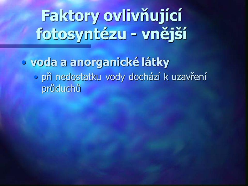 Faktory ovlivňující fotosyntézu - vnější •voda a anorganické látky •při nedostatku vody dochází k uzavření průduchů