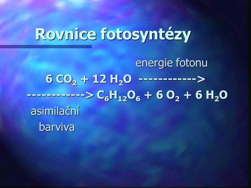 Rovnice fotosyntézy energie fotonu energie fotonu 6 CO 2 + 12 H 2 O ------------> ------------> C 6 H 12 O 6 + 6 O 2 + 6 H 2 O ------------> C 6 H 12