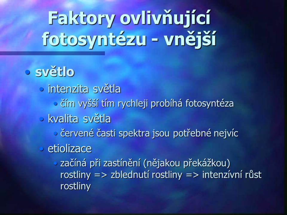Faktory ovlivňující fotosyntézu - vnější •světlo •intenzita světla •čím vyšší tím rychleji probíhá fotosyntéza •kvalita světla •červené časti spektra