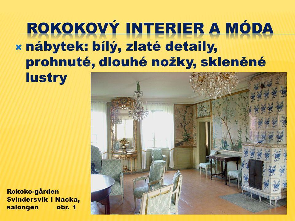  nábytek: bílý, zlaté detaily, prohnuté, dlouhé nožky, skleněné lustry Rokoko-gården Svindersvik i Nacka, salongen obr.