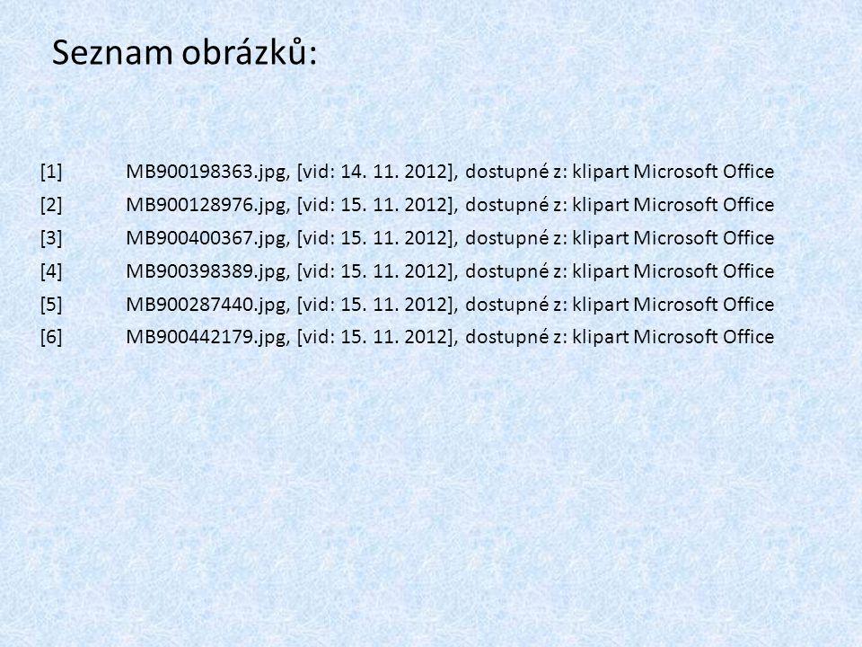 Seznam obrázků: [1]MB900198363.jpg, [vid: 14. 11. 2012], dostupné z: klipart Microsoft Office [2]MB900128976.jpg, [vid: 15. 11. 2012], dostupné z: kli