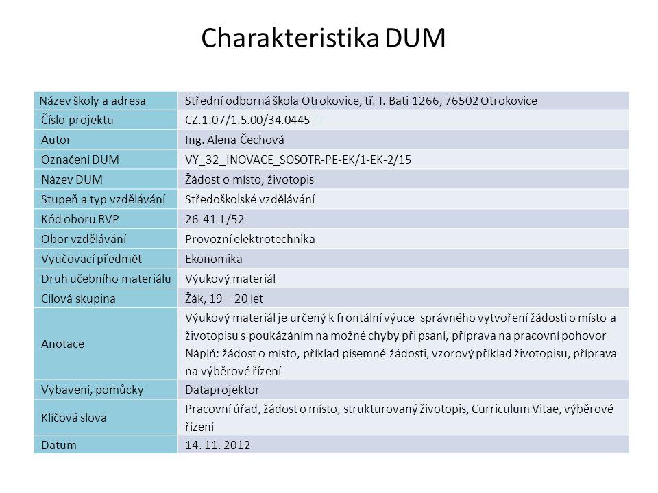 Seznam použité literatury: [1] Ing.