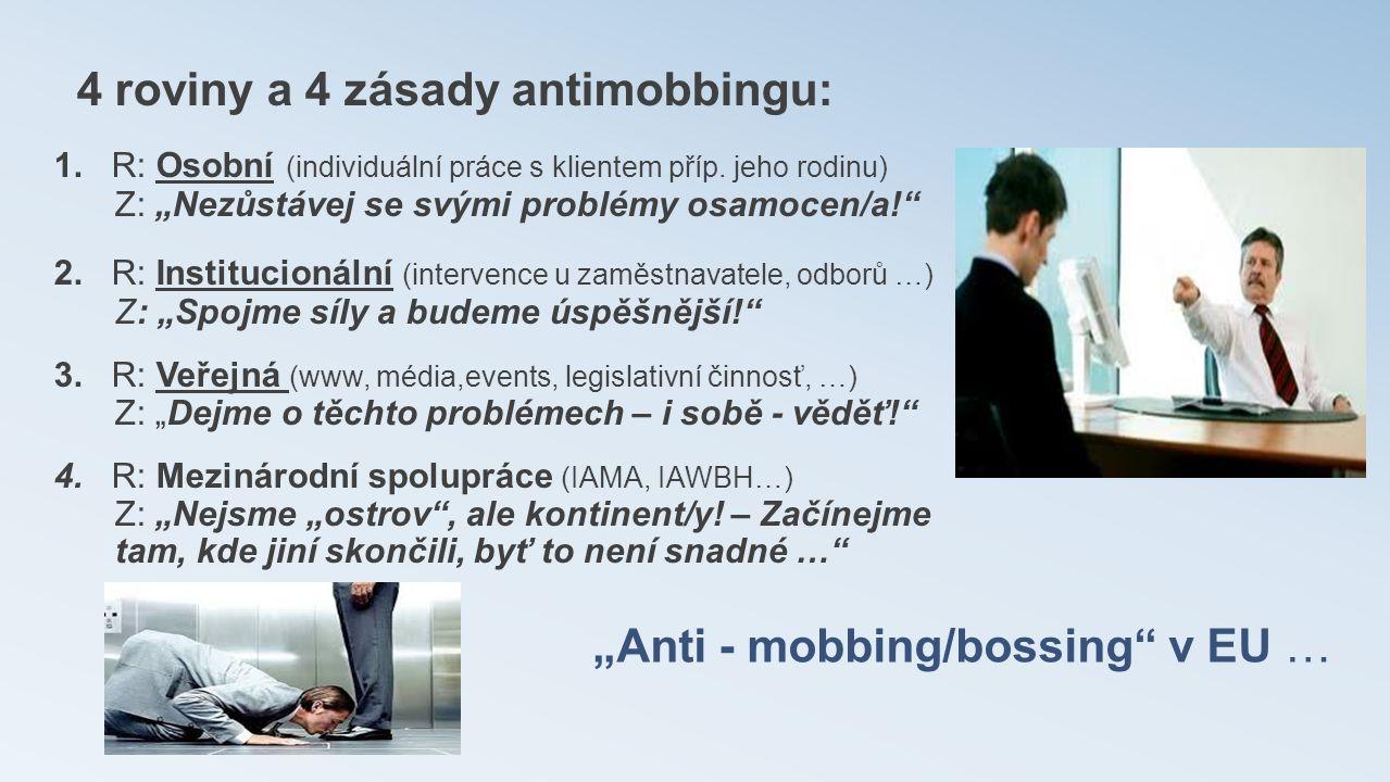 """""""Anti - mobbing/bossing"""" v EU … 4 roviny a 4 zásady antimobbingu: 1. R: Osobní (individuální práce s klientem příp. jeho rodinu) Z: """"Nezůstávej se svý"""