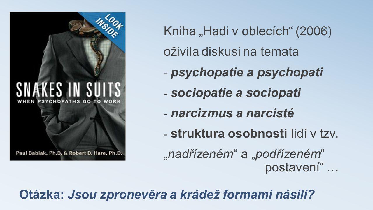 """Otázka: Jsou zpronevěra a krádež formami násilí? Kniha """"Hadi v oblecích"""" (2006) oživila diskusi na temata - psychopatie a psychopati - sociopatie a so"""