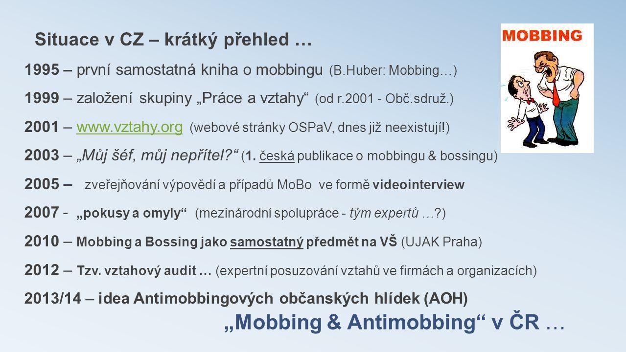 """""""Mobbing & Antimobbing"""" v ČR … Situace v CZ – krátký přehled … 1995 – první samostatná kniha o mobbingu (B.Huber: Mobbing…) 1999 – založení skupiny """"P"""
