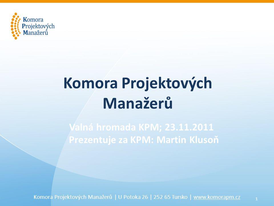 12 Komora Projektových Manažerů   U Potoka 26   252 65 Tursko   www.komorapm.cz 6.5.2011 31.06.2012 Příprava • Mise • Vize • Strategie • Zakládající členové Příprava • Mise • Vize • Strategie • Zakládající členové Rozšíření • Přesun na Core Team • Nábor mas • Naplnění webu • Uzavření partnerství • Organizace konference • Plnění cílů - projekty Rozšíření • Přesun na Core Team • Nábor mas • Naplnění webu • Uzavření partnerství • Organizace konference • Plnění cílů - projekty 123456789101112123456789101112 23.11.201223.11.2011 Milníky komory 20112012 Valná hromada Stabilizace • Formální registrace • Stanovy • Logo, barvy, vizitky • PPT, leták, banner • Organizační struktura • ŘV, Core Team • Participace na konferenci • VŠ za KPM • 50 členů Stabilizace • Formální registrace • Stanovy • Logo, barvy, vizitky • PPT, leták, banner • Organizační struktura • ŘV, Core Team • Participace na konferenci • VŠ za KPM • 50 členů