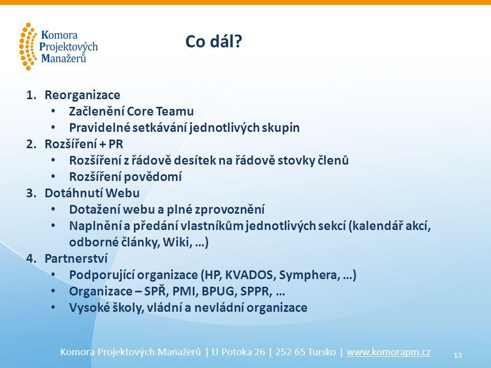 13 Komora Projektových Manažerů | U Potoka 26 | 252 65 Tursko | www.komorapm.cz Co dál.