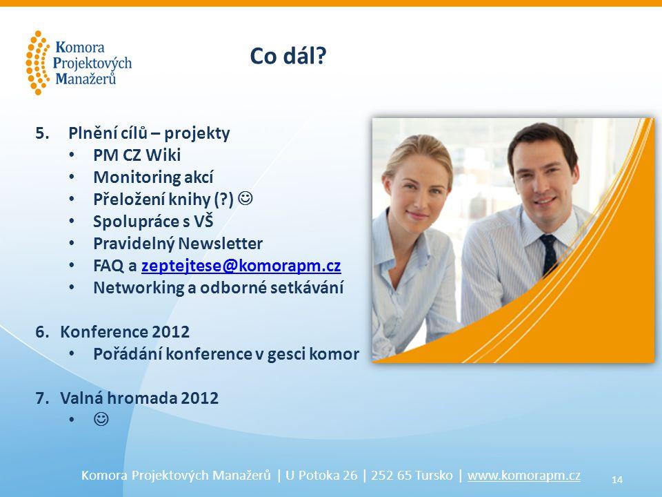 14 Komora Projektových Manažerů | U Potoka 26 | 252 65 Tursko | www.komorapm.cz Co dál.