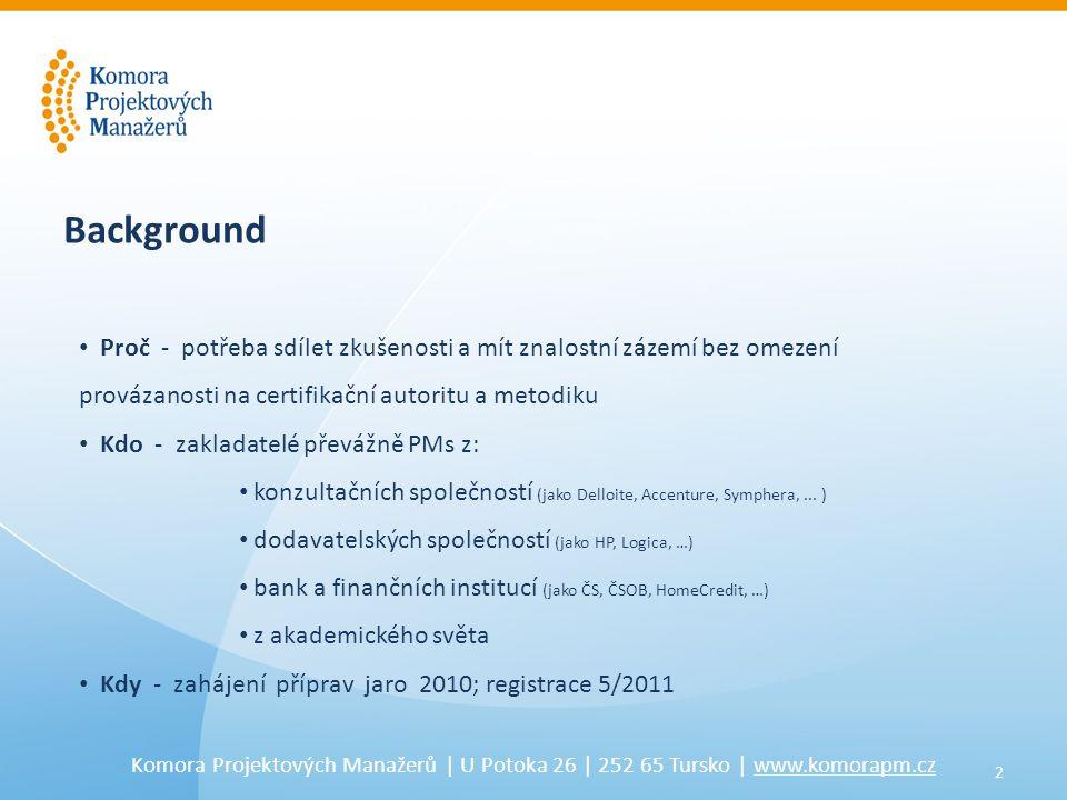 2 Komora Projektových Manažerů | U Potoka 26 | 252 65 Tursko | www.komorapm.cz Background • Proč - potřeba sdílet zkušenosti a mít znalostní zázemí be