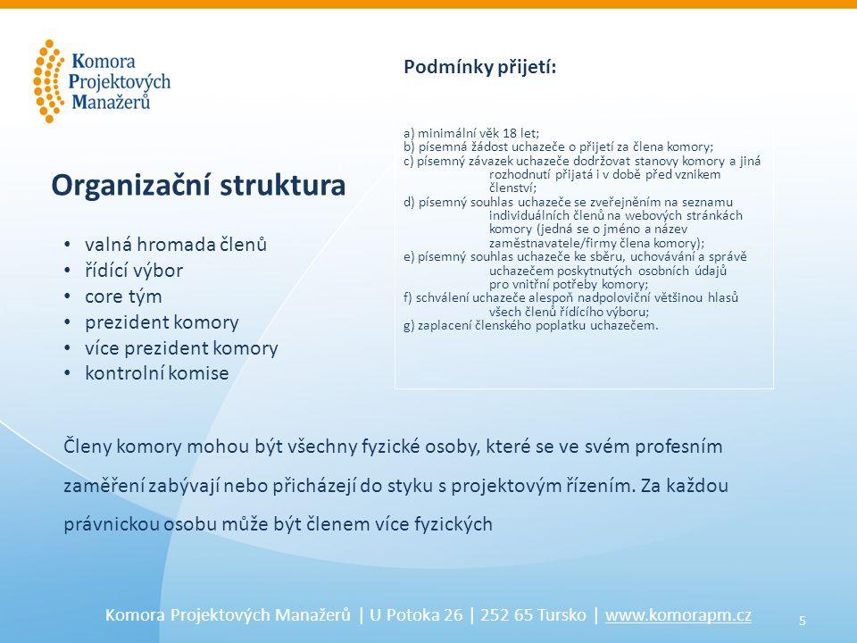 6 Komora Projektových Manažerů   U Potoka 26   252 65 Tursko   www.komorapm.cz Co komora nabízí svým členům.
