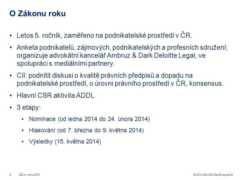 2© 2014 Deloitte Česká republika O Zákonu roku •Letos 5.