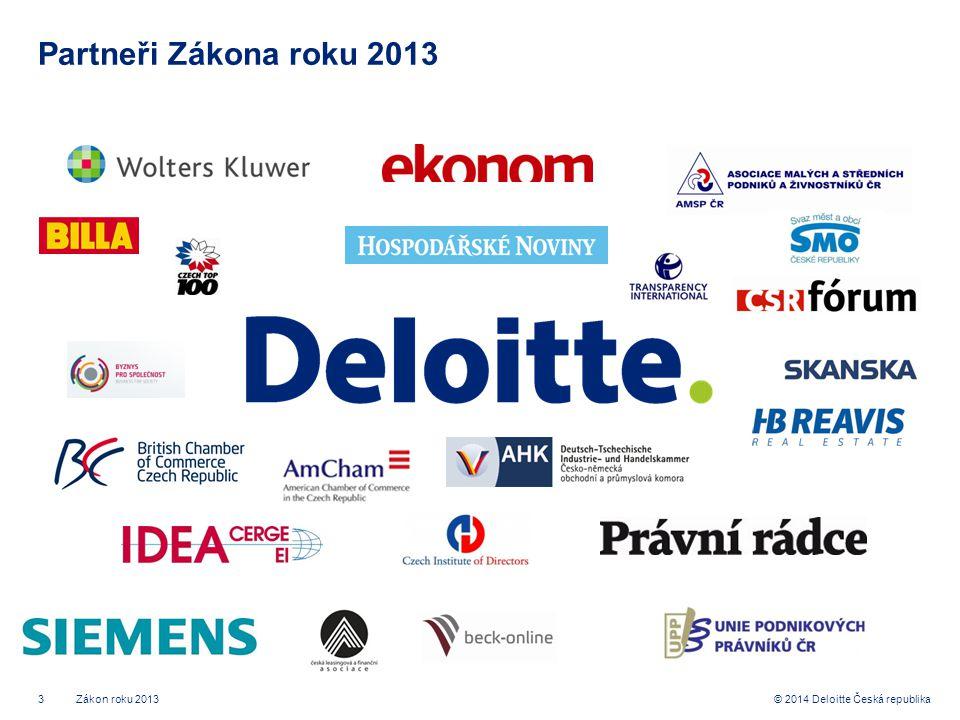 3© 2014 Deloitte Česká republika Partneři Zákona roku 2013 Zákon roku 2013