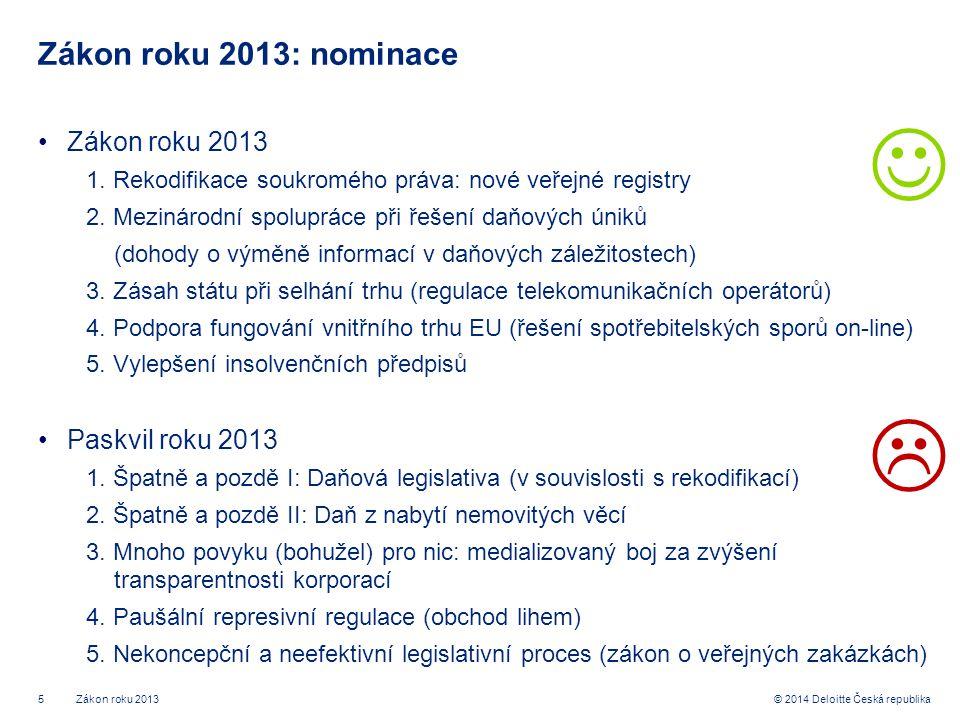 5© 2014 Deloitte Česká republika Zákon roku 2013: nominace •Zákon roku 2013 1.
