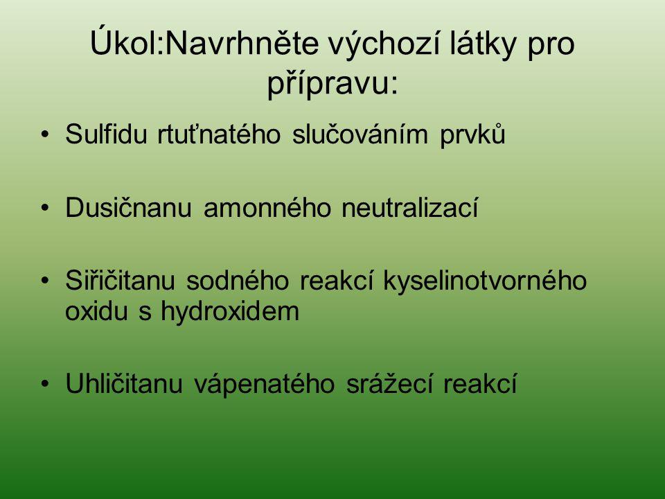 Úkol:Navrhněte výchozí látky pro přípravu: •Sulfidu rtuťnatého slučováním prvků •Dusičnanu amonného neutralizací •Siřičitanu sodného reakcí kyselinotv