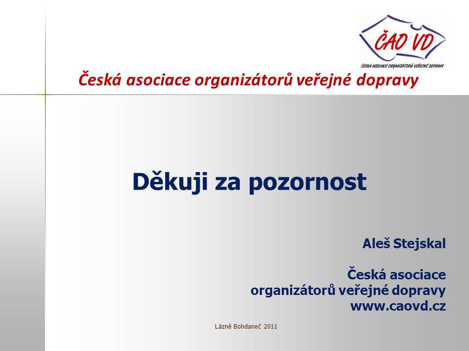 Děkuji za pozornost Aleš Stejskal Česká asociace organizátorů veřejné dopravy www.caovd.cz Lázně Bohdaneč 2011 Česká asociace organizátorů veřejné dopravy
