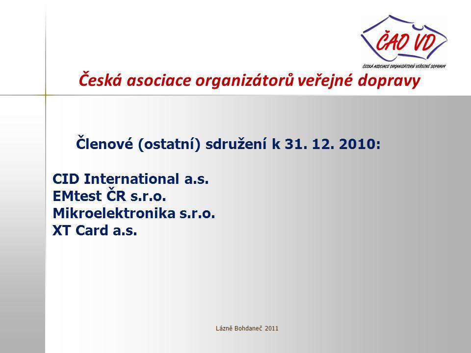 Česká asociace organizátorů veřejné dopravy Členové (ostatní) sdružení k 31. 12. 2010: CID International a.s. EMtest ČR s.r.o. Mikroelektronika s.r.o.