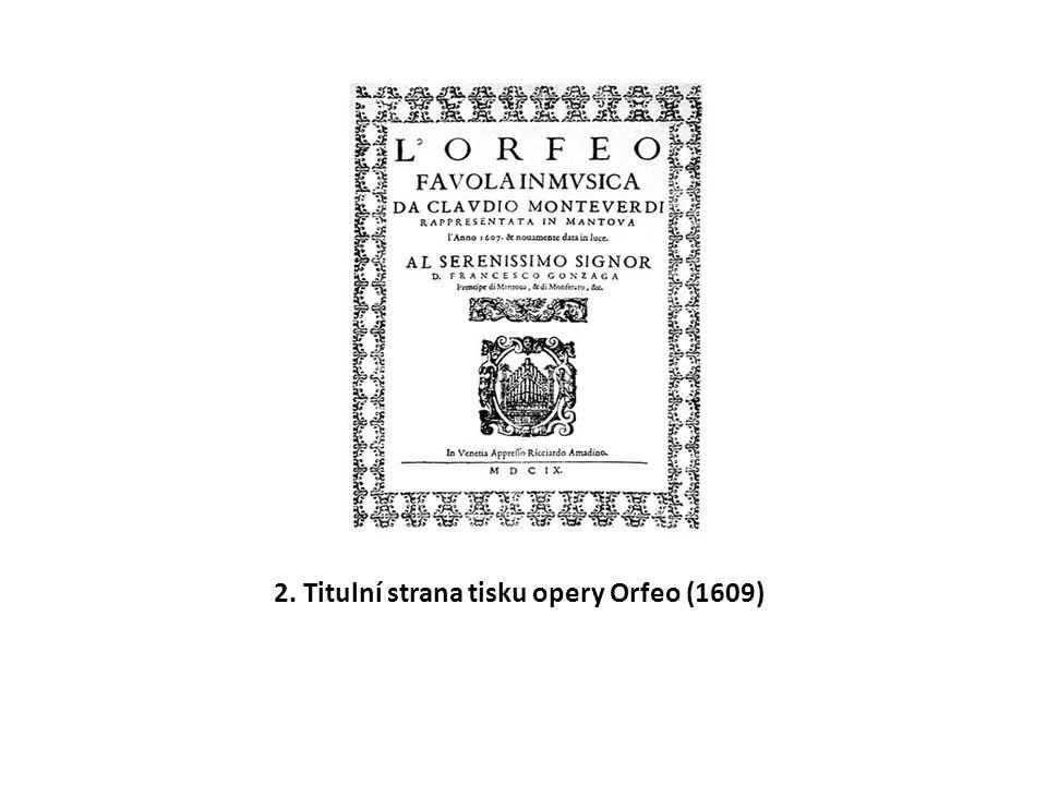 2. Titulní strana tisku opery Orfeo (1609)
