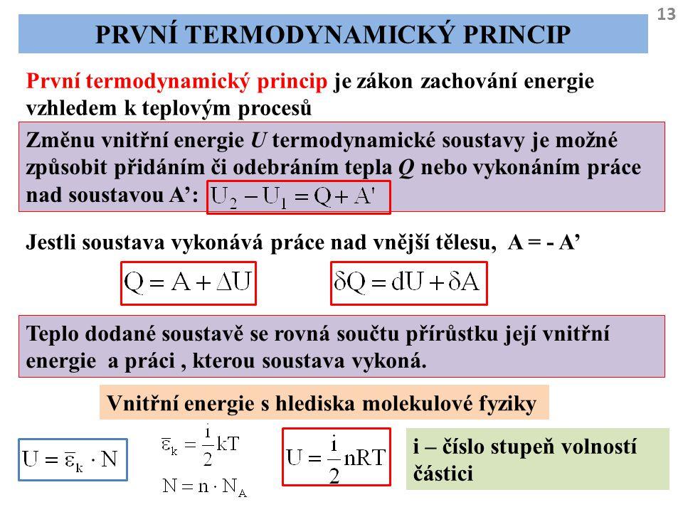 13 PRVNÍ TERMODYNAMICKÝ PRINCIP První termodynamický princip je zákon zachování energie vzhledem k teplovým procesů Změnu vnitřní energie U termodynam