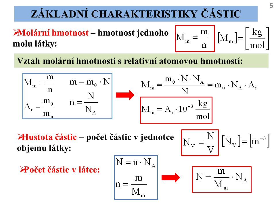 5 ZÁKLADNÍ CHARAKTERISTIKY ČÁSTIC  Molární hmotnost – hmotnost jednoho molu látky: Vztah molární hmotnosti s relativní atomovou hmotností:  Hustota