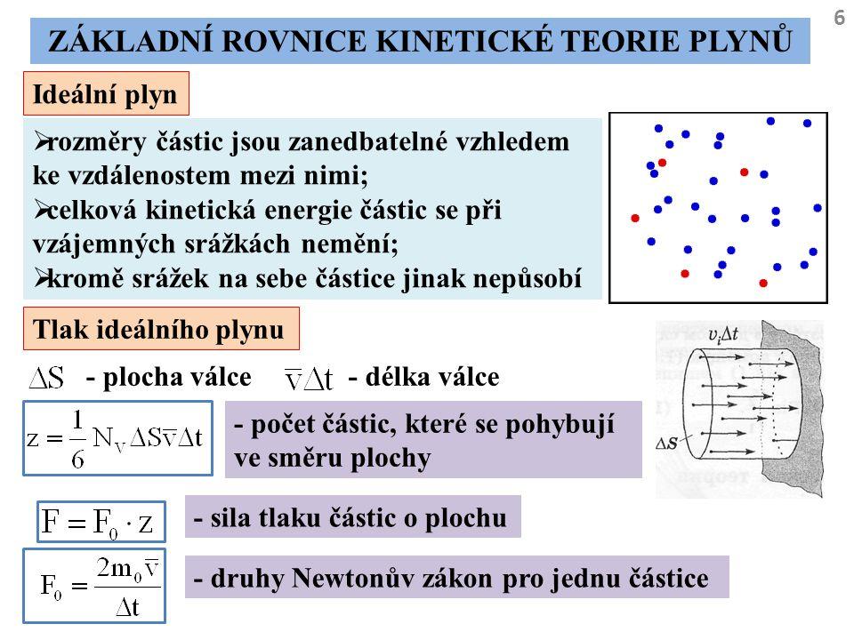 6 ZÁKLADNÍ ROVNICE KINETICKÉ TEORIE PLYNŮ Ideální plyn  rozměry částic jsou zanedbatelné vzhledem ke vzdálenostem mezi nimi;  celková kinetická ener