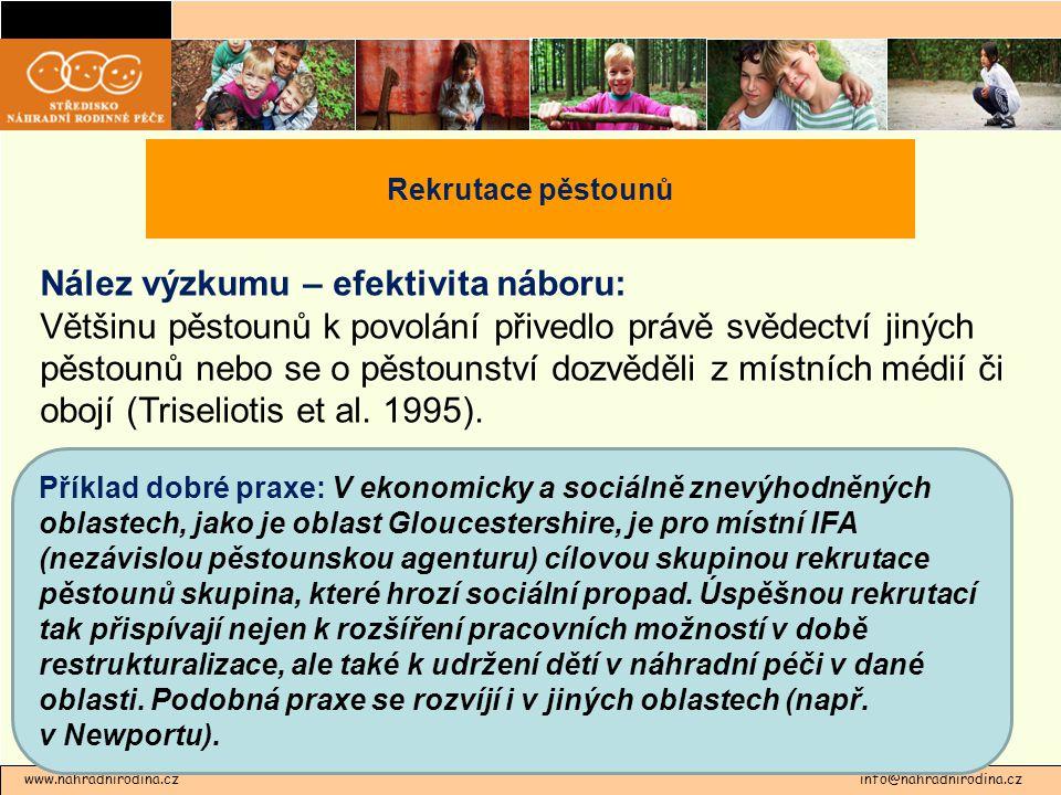 www.nahradnirodina.cz info@nahradnirodina.cz Rekrutace pěstounů Nález výzkumu – efektivita náboru: Většinu pěstounů k povolání přivedlo právě svědectví jiných pěstounů nebo se o pěstounství dozvěděli z místních médií či obojí (Triseliotis et al.