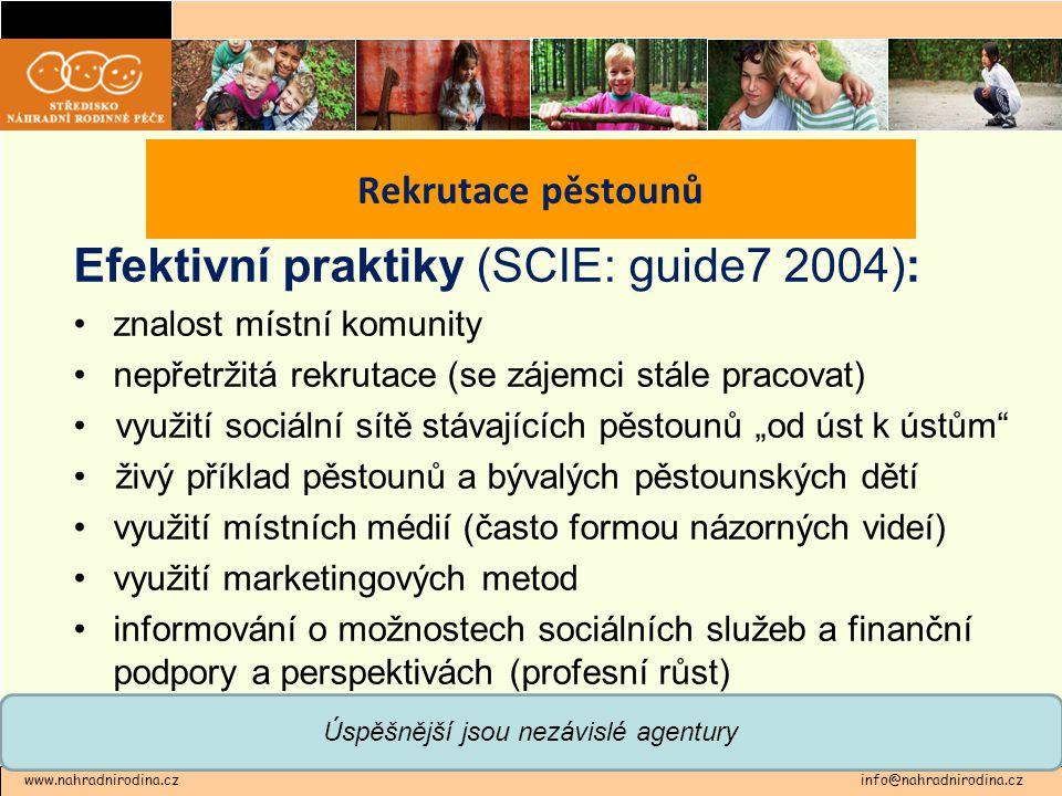 """Efektivní praktiky (SCIE: guide7 2004): •znalost místní komunity •nepřetržitá rekrutace (se zájemci stále pracovat) • využití sociální sítě stávajících pěstounů """"od úst k ústům • živý příklad pěstounů a bývalých pěstounských dětí •využití místních médií (často formou názorných videí) •využití marketingových metod •informování o možnostech sociálních služeb a finanční podpory a perspektivách (profesní růst) www.nahradnirodina.cz info@nahradnirodina.cz Rekrutace pěstounů Úspěšnější jsou nezávislé agentury"""