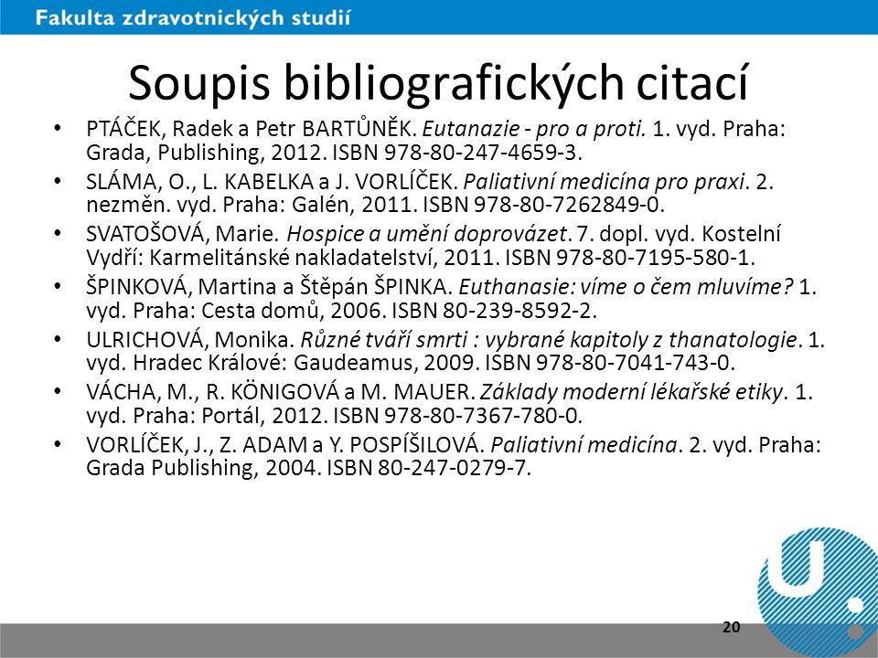 Soupis bibliografických citací • PTÁČEK, Radek a Petr BARTŮNĚK. Eutanazie - pro a proti. 1. vyd. Praha: Grada, Publishing, 2012. ISBN 978-80-247-4659-