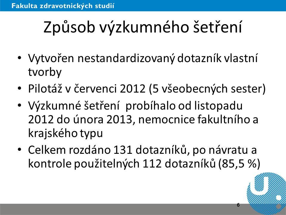 Způsob výzkumného šetření • Vytvořen nestandardizovaný dotazník vlastní tvorby • Pilotáž v červenci 2012 (5 všeobecných sester) • Výzkumné šetření pro