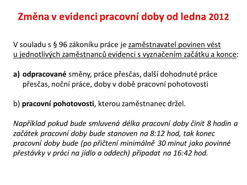 Evidence docházky x evidence pracovní doby Evidence docházky není ze zákona povinná (resp.