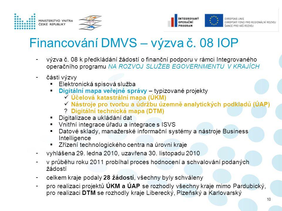 Financování DMVS – výzva č. 08 IOP - výzva č. 08 k předkládání žádostí o finanční podporu v rámci Integrovaného operačního programu NA ROZVOJ SLUŽEB E