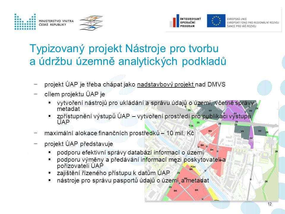 Typizovaný projekt Nástroje pro tvorbu a údržbu územně analytických podkladů − projekt ÚAP je třeba chápat jako nadstavbový projekt nad DMVS − cílem p