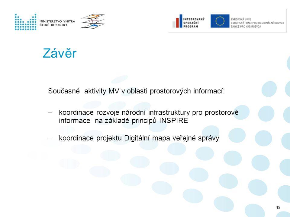 Závěr Současné aktivity MV v oblasti prostorových informací: − koordinace rozvoje národní infrastruktury pro prostorové informace na základě principů