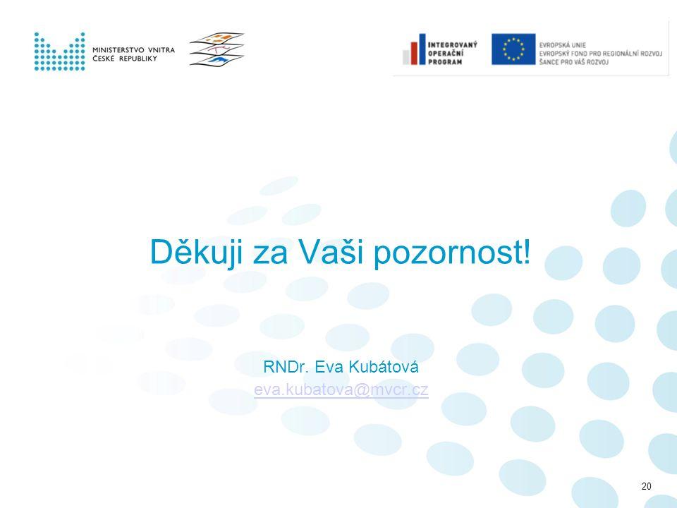 Děkuji za Vaši pozornost! RNDr. Eva Kubátová eva.kubatova@mvcr.cz 20