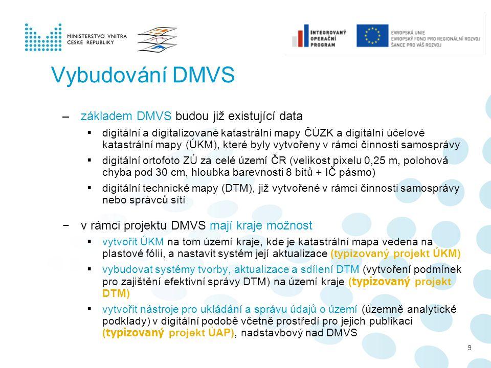 Vybudování DMVS –základem DMVS budou již existující data  digitální a digitalizované katastrální mapy ČÚZK a digitální účelové katastrální mapy (ÚKM)