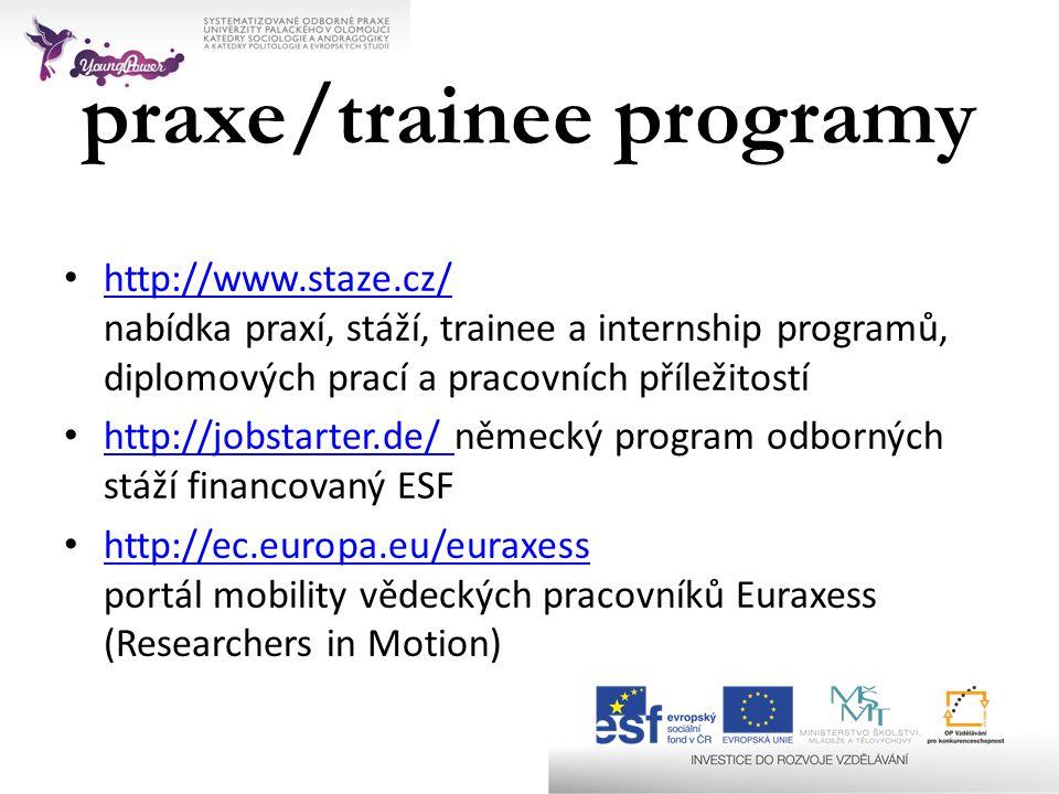 • http://www.staze.cz/ nabídka praxí, stáží, trainee a internship programů, diplomových prací a pracovních příležitostí http://www.staze.cz/ • http://