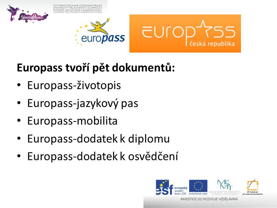 Europass tvoří pět dokumentů: • Europass-životopis • Europass-jazykový pas • Europass-mobilita • Europass-dodatek k diplomu • Europass-dodatek k osvěd