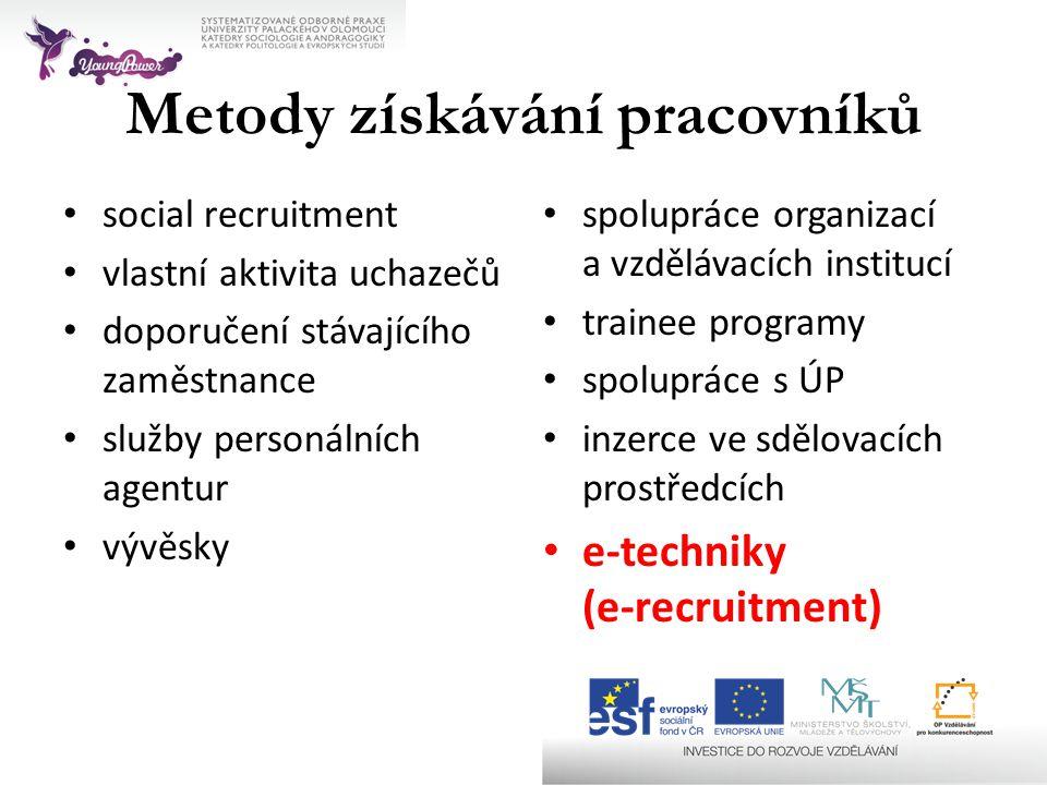 Metody získávání pracovníků • social recruitment • vlastní aktivita uchazečů • doporučení stávajícího zaměstnance • služby personálních agentur • vývě