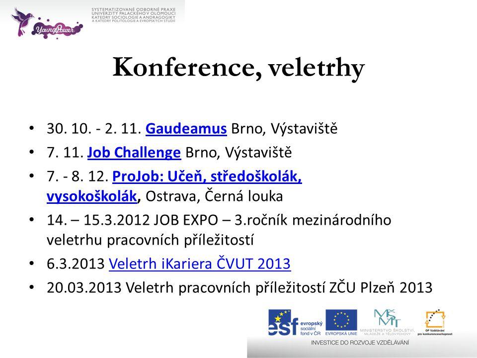 Konference, veletrhy • 30. 10. - 2. 11. Gaudeamus Brno, VýstavištěGaudeamus • 7. 11. Job Challenge Brno, VýstavištěJob Challenge • 7. - 8. 12. ProJob: