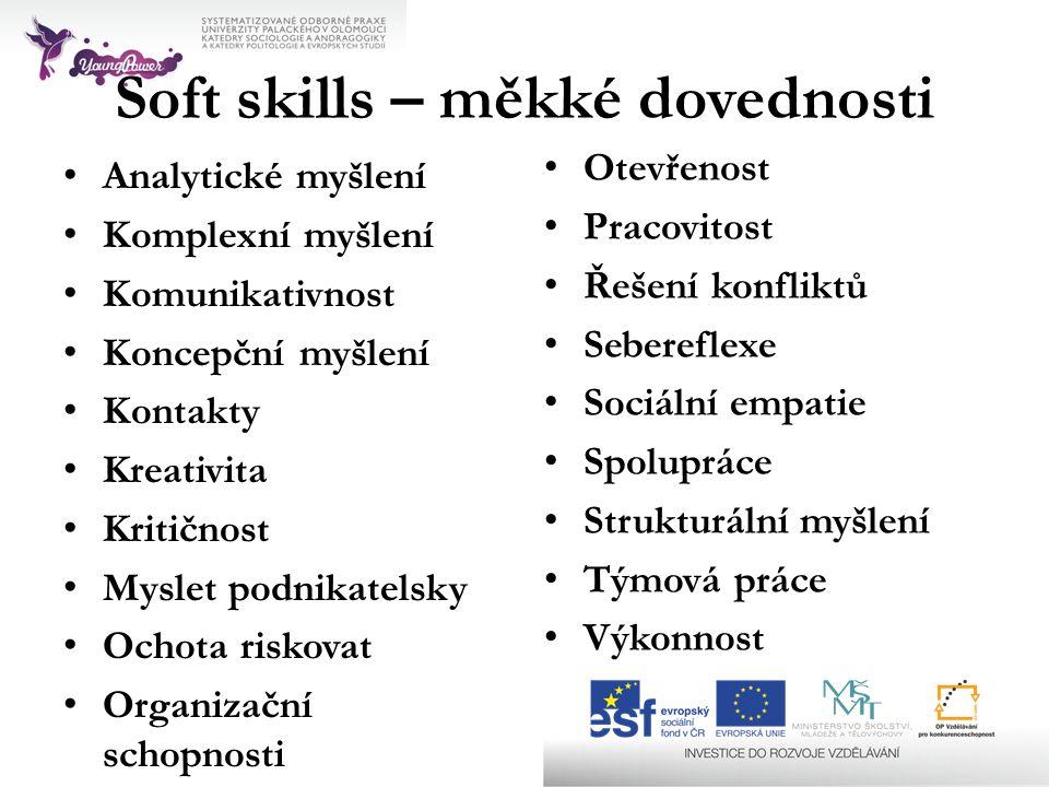 Soft skills – měkké dovednosti • Analytické myšlení • Komplexní myšlení • Komunikativnost • Koncepční myšlení • Kontakty • Kreativita • Kritičnost • M